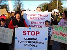 Protestors at Shire Hall in Shrewsbury