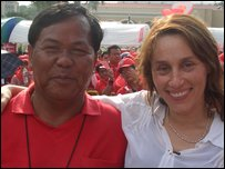 Lucy Ash with Kwanchai Paipanna, of the Udon Lovers community radio station