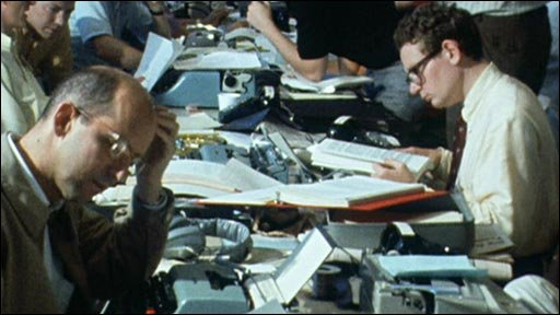 Journalists in the Apollo 11 newsroom