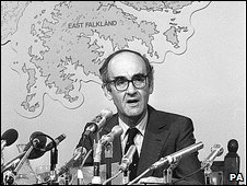 Defence Secretary John Nott outlining British miltary action in the Falklands in 1982