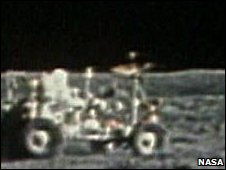 John Young driving the second Lunar Rover