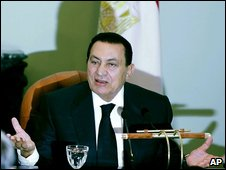 President Hosni Mubarak at a news conference on 7 July 2009
