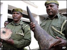 Kenyan officials show the rhino horn