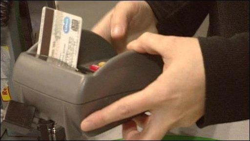 Customer using chip and pin machine