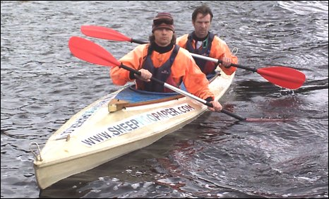 Lez Paylor and Lawrence Toms in the canoe