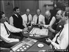 Captains of industry play Monopoly for BBC's Money Programme in 1970