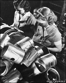 Women at work in an aluminium factory in the 1950s