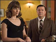 Jennifer Garner and Ricky Gervais in The Invention of Lying