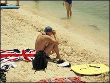 British tourist in Ibiza, Spain