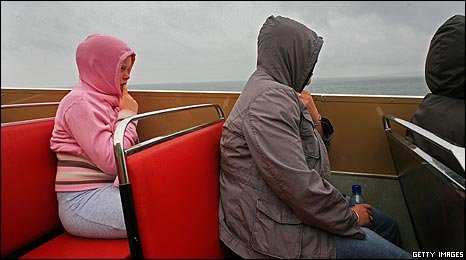 Seaside goers on a rainy summer's day