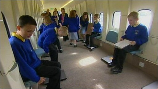 Children inside aircraft classroom in Stoke-on-Trent