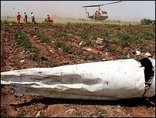 Part of the wreckage of the Caspian Airline plane