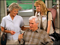 an elderly man in a care home