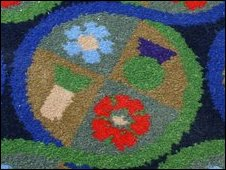 The carpet at the Supreme Court, designed by Sir Peter Blake