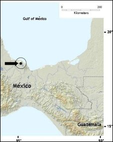 Map showing location of Nelson's small-eared shrew