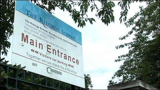 The Ridings School sign