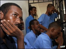 Somali defendants in court in Aden, 15 July