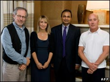 (From left) Steven Spielberg, Stacey Snider and Indian industrialist Anil Ambani in October 2008