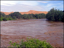 The Kuiseb river in flood in Namibia