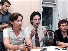 Natalia Estemirova (left) with colleagues