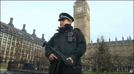 Police officer on patrol at Parliament