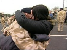 Soldiers after their return from Afghanistan
