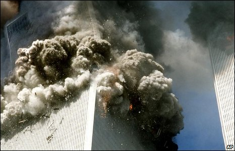 The south tower of the World Trade Center crumbles, 11 September 2001