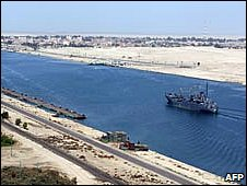 An Egyptian patrol boat passes through the Suez Canal, November 2008