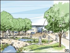 Artist's impression of the eco-town proposed to be built in the China Clay Community near St Austell in Cornwall