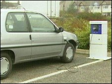 An electric car being charged (file)