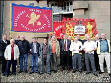Trade union members outside court