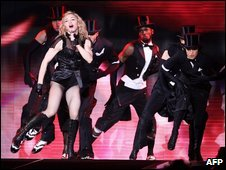 Madonna performs during her concert on 11 July in Belgium