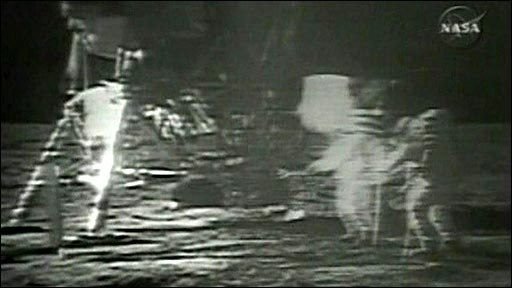 Footage from the Apollo 11 moon landing, showing enhanced version on right and original on left
