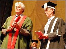 Rhodri Morgan and Aberystwyth University vice-chancellor Noel Lloyd