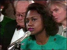 Anita Hill gives testimony before the US Senate Judiciary Committee in a confirmation hearing for Clarence Thomas