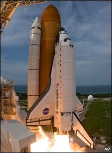 The space shuttle blasts off, 15 July