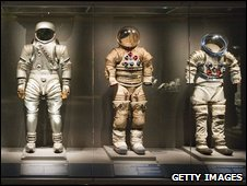 Three of the rare spacesuits on display at Cape Canaveral