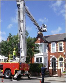Firefighters helping return the seagull to its nest