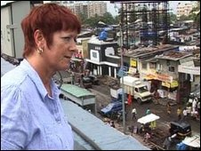 Belinda in India looking over a slum