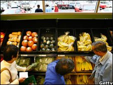 Customers choosing supermarket fruit