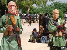 Al-Shabab fighters in Mogadishu (file photo)
