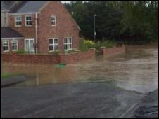 Flooding in Oakenshaw, County Durham. Photo: Jenny Argyle