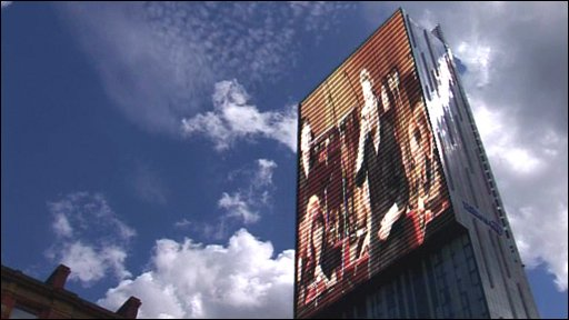 The Beetham Tower in Manchester with image of Guy Garvey