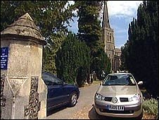 Cars parked at St Mary's Chuech