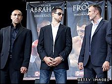 Arthur Abraham (L), Carl Froch (C) and Mikkel Kessler