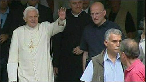 Pope Benedict XVI waving