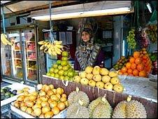 stallholder at Jakarta's Pasar Rumput market