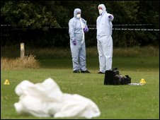 Forensic experts at Sparrows Den Playing Fields