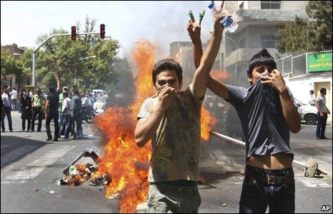 Protesters in Tehran, Iran, on 17 July 2009