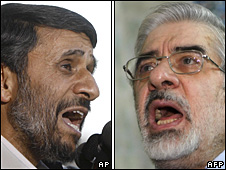 President Mahmoud Ahmadinejad (left) and Mir Hossein Mousavi